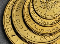 Maple Leaf Goldmünzen gestapelt in diversen Größen von groß nach klein