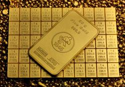 50g Goldbarren auf 50x1g Goldtafel