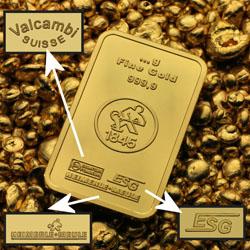 Goldbarren mit Aufschlüsselung der Hersteller