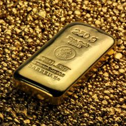 Gussbarren aus Gold mit 250g