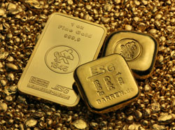 verschiedene Unzenbarren aus Gold