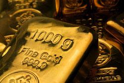 1000g Goldbarren gegossen
