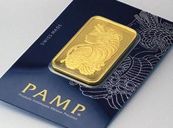 Fortuna Goldbarren von PAMP im dunkelblauen Blister