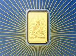 Der Goldbarren Buddha von PAMP 5 g mit einem Feingoldgehalt von 999,9