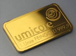 geprägter Goldbarren von Umicore 1 Unze aus 999,9 Feingold
