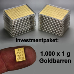 Goldtafel Investmentpaket 1.000 x 1g