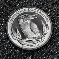 Silbermünze Australian Kookaburra auf Silbergranulat