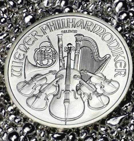 Silbermünze Wiener Philharmoniker aus Silbergranulat