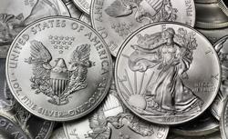 Silber Eagle Münze (Kopf u. Zahlseite)