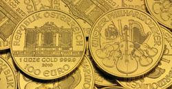 Kopf und Zahlseite der Philharmoniker Goldmünze